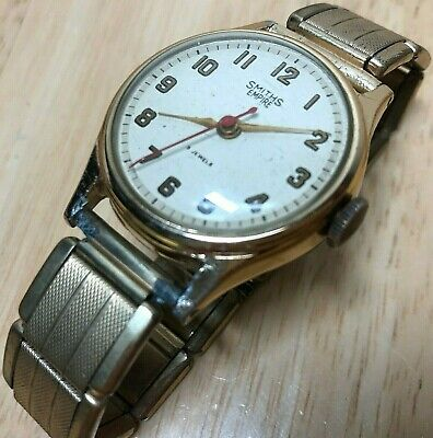 Vintage Smiths Empire Men Gold Tone Military Hand-Winding Mechanical Watch Hours