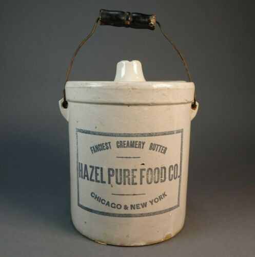 """Rare Early Hazel Pure Food Co. Red Wing Stoneware Crock Chicago 6.5""""D x 7.5""""H"""