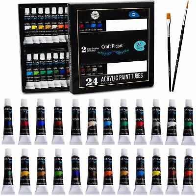 Acrylic Paint Set 24 Colors with 2 Brushes Perfect For Canvas, Wood, Ceramic. No