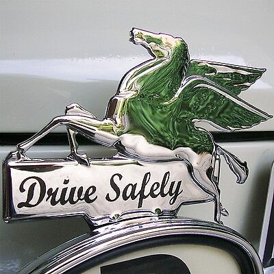 CHROME Pegasus DRIVE SAFELY Licence Topper Mobil Oil Hot Rod for VW Ford AAC165