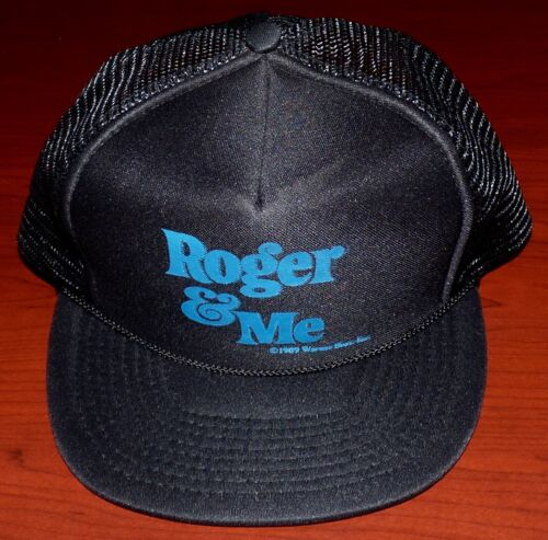 ROGER & ME 1989 VINTAGE ORIG MOVIE PROMO TRUCKER HAT BASEBALL CAP MICHAEL MOORE
