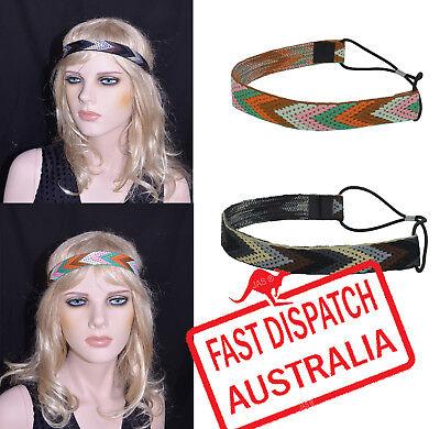 70s Hippie Tribal Boho Gypsy Hipster Bohemian Stretch Elastic Hair Band Headband (70s Head Band)