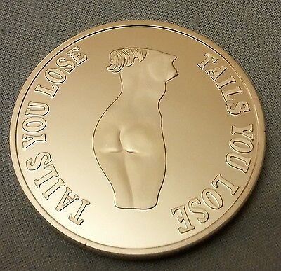 Heads I win Silver Coin Nude Woman Naked Girl Risque Art Artistic Naughty Retro