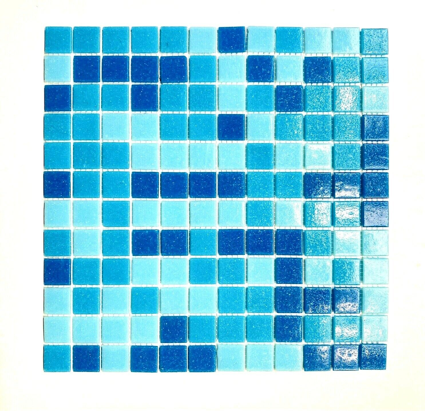 1x1 Pool Blue Spa Navy mix Glass Mosaic Wall and Floor Tile Pool Backsplash