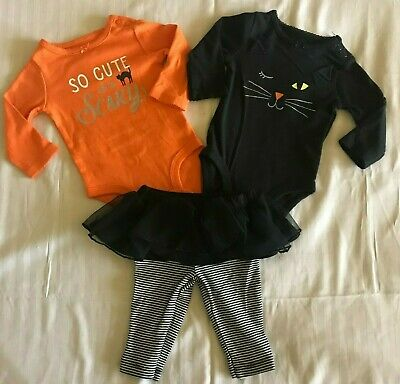 Carter's Baby Size 3 Months 3 Piece Set NWT HALLOWEEN Cat So Cute It's Scary (It's Halloween Baby)