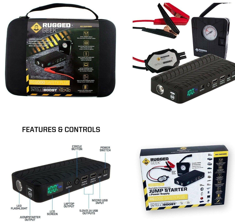 Rugged Geek RG1000 RG600 Safety Portable Car Cables Jump Sta