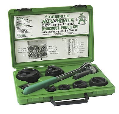 New Greenlee 7238sb Usa Made Slug-buster Ratchet Wrench Knock Out Set 12-2