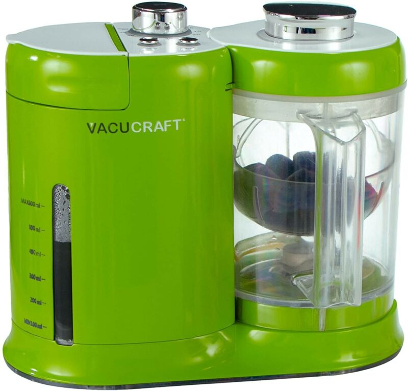 VACUCRAFT 4-IN-1 GREEN BABY FOOD MAKER PROCESSOR AUTOMATIC STEAMER BLENDER PUREE