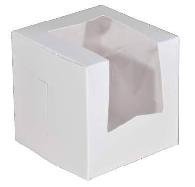 Southern Champion Paperboard White Lock Corner Window Bakery Box 200 Pack 4x4x4