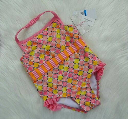 NWT Tommy Bahama Kids Swimsuit One-Piece Tile Print Pink Coral Baby Girls 24Mos