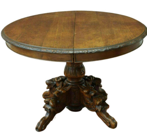 Table, Round, French Carved Oak Extension Pedestal Table, 19th C. 1800s, Nice!!