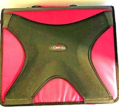 Case-it 2 In 1 Zipper D-ring Dual Binder 3in. Pink Euc Front Holds Ipad Computer