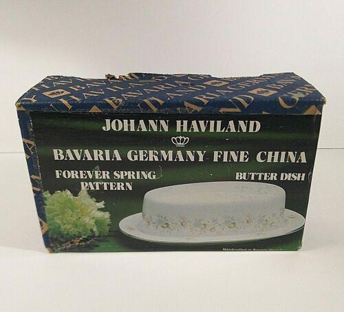 Johann Haviland Bavaria Germany FOREVER SPRING Covered Oval Butter Dish NEW Box