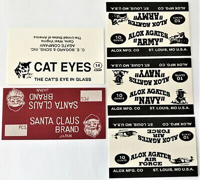 5 Vtg Marble Bag Header Labels Alox Agates Army Navy Air Force Santa Claus