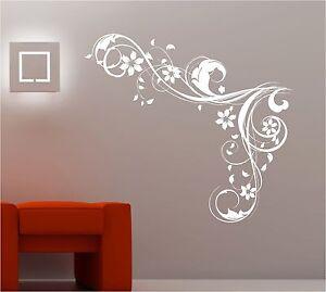 BEDROOM WALL ART SWIRLS FLOWERS VINYL STICKER LOUNGE