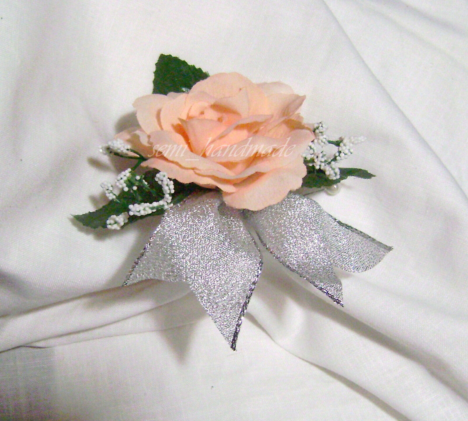ivory open rose boutonniere - Garden Rose Boutonniere