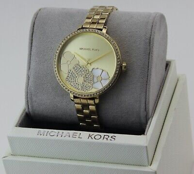 NEW AUTHENTIC MICHAEL KORS CHARLEY PAVE CRYSTALS GOLD FLOWERS WOMEN MK4381 WATCH