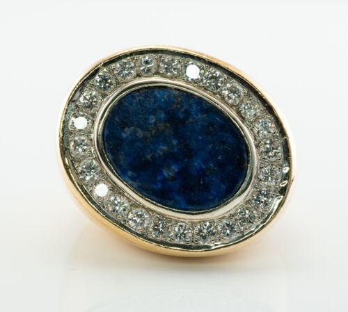 Mens Lapis Lazuli Diamond Ring 18K Gold Band Vintage