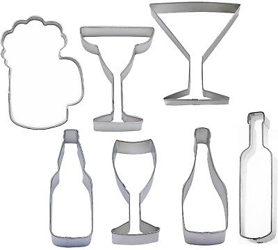 7 Piece Beverage Cookie Cutter Set Beer Champagne Wine Margarita](Champagne Beverage)