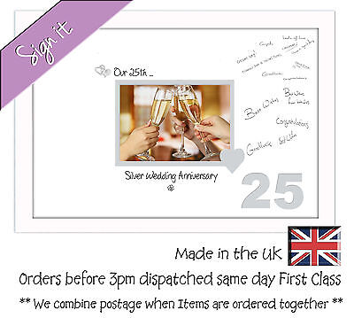 25th Silver Wedding Anniversary Signing Guest Gift Photo Frame 7x5 690DW