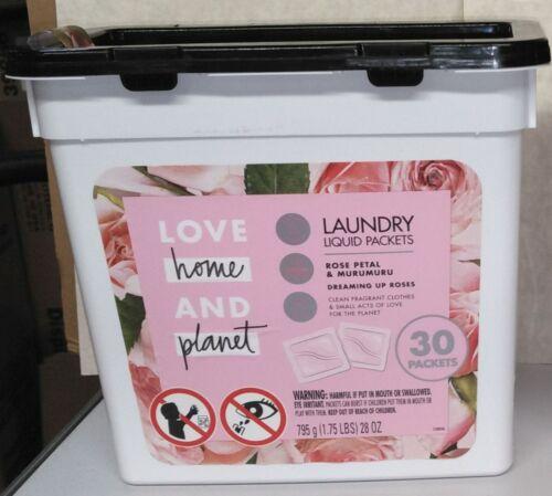 Love Home And Planet Rose Petal & Murumuru Laundry Liquid Packets, 30 ct