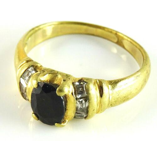 Antique Ladies Ring Black Sapphire Clear Stones Size 6