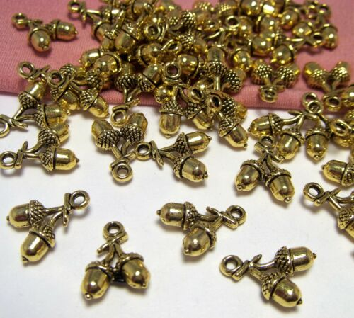 BULK LOT OF 50 GOLD ACORN CHARMS-NATURE-WALK-FOREST-AUTUMN-WOODS-JEWELRY