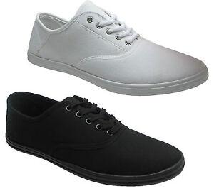 New-Mens-Canvas-Pumps-Plimsoles-Plimsolls-Shoes-Lace-Up-Trainers-Sizes-UK-7-12