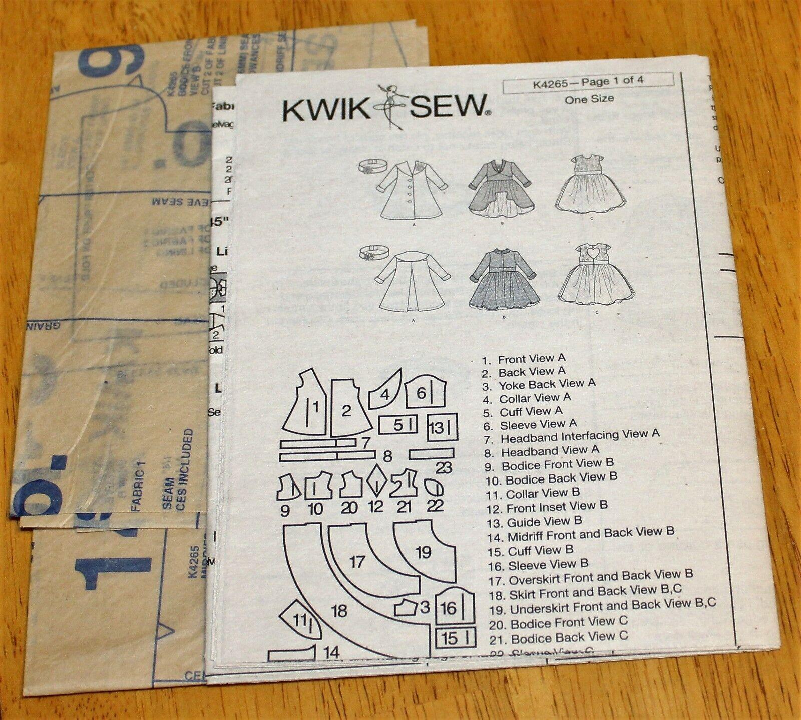 Kwik-Sew PATTERN K4265 DOLL CLOTHES FOR 18 DOLLS - Dresses Coat - NEW  - $4.59