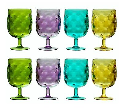 (QG 12 oz Acrylic Plastic Stackable Goblet Glass Tumbler Assorted Color Set of 8)