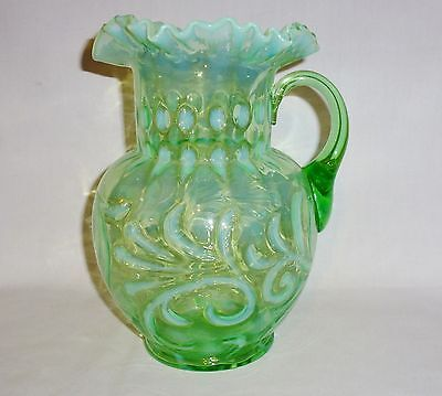 """Northwood Opalescent Green Pitcher Crimped Ruffled Rim (9 3/4"""" Tall)"""
