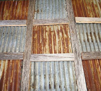 Stock Photo-12 X 12 Reclaimed Corrugated Metal Tin Roofing Panels