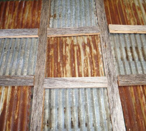 """{STOCK PHOTO-12"""" x 12"""" } RECLAIMED CORRUGATED METAL TIN ROOFING PANELS"""