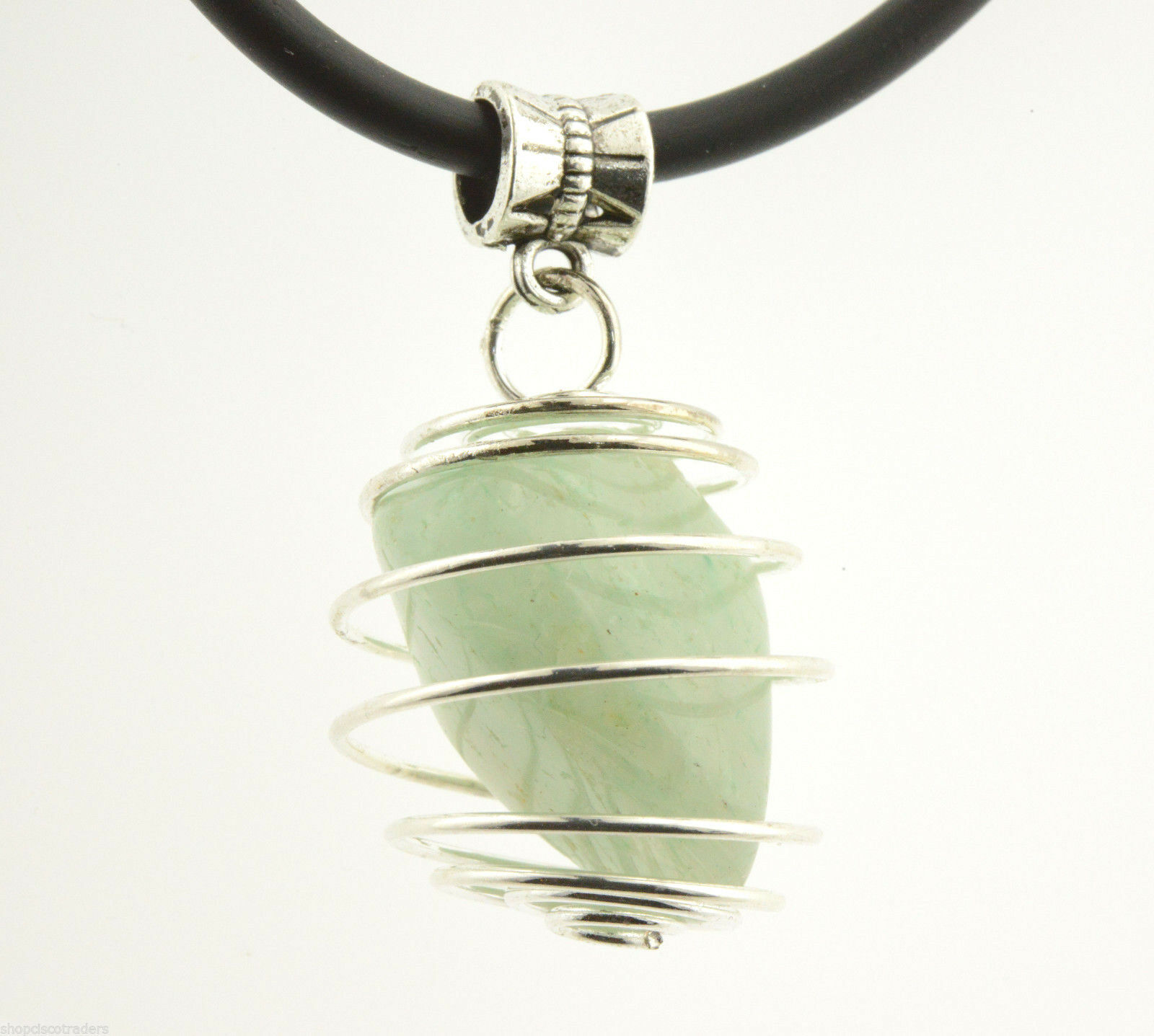 One Healing Crystal Reiki Unisex Cage Pendant Necklace Rubber Cord Teacher Gift