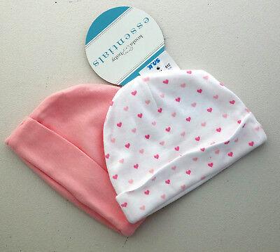 Koala Baby essentials newborn cap pink hearts set of 2 100% cotton NEW