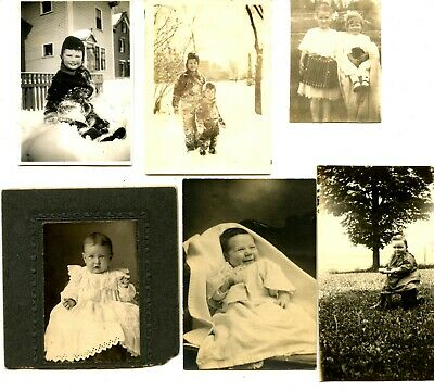 Fun Lot-Group of 15 Vintage Snapshots-Photos-Cute Children-Babies-Toys-Dolls - Cute Baby Group Photos