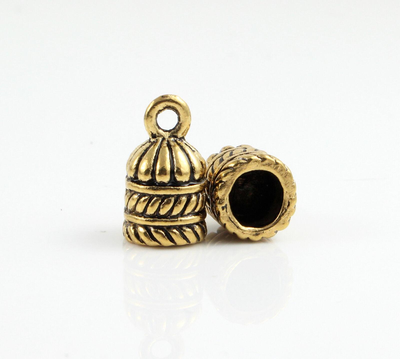 8 Endkappen Ø 6 mm antik gold Armband herstellen Schmuck verschluss