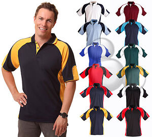 Mens-Contrast-Panel-Polo-Shirt-Size-XS-S-M-L-XL-2XL-3XL-4XL-5XL-Top-New