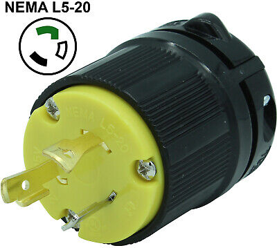 L5-20p 20a 125v Twist Locking Male Receptacle Replacement Plug Rv 3prong 20amp