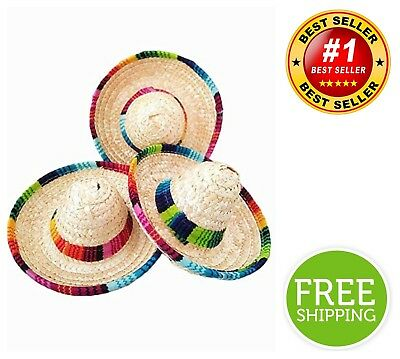 6-Pack Natural Straw Mini Sombrero Mini Mexican Hat Tabletop Party - Mini Sombrero Party Hats