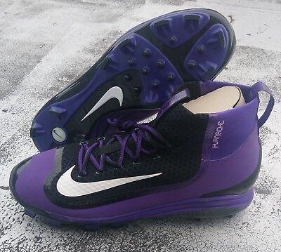 07a76b877f47 Nike Air Huarache 2KFilth Elite MCS Baseball Cleats Black Purple White Size  14