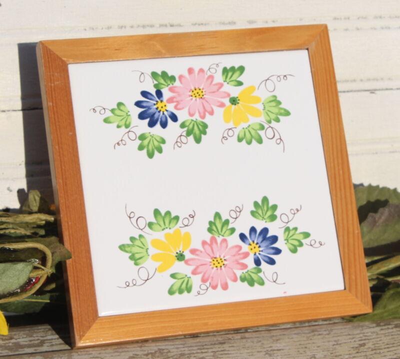 Floral Tile Trivet Pine Frame