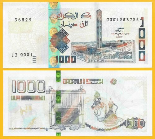 Algeria 1000 Dinars p-new 2018 (2019) UNC Banknote