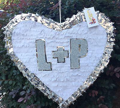 APINATA4U Personalized White & Silver Trim Wedding Heart Pinata 19