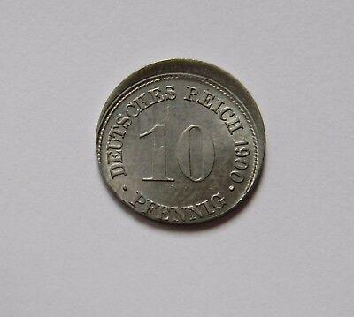 KAISERREICH: 10 Pfennig 1900 D, J. 13, stempelglanz, STARK DEZENTRIERT !!!