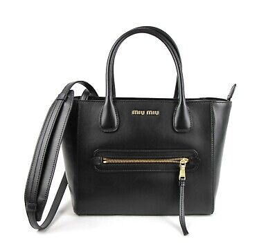 Miu Miu Black Soft Calf Leather Shopping Tote Crossbody Bag 5BG137