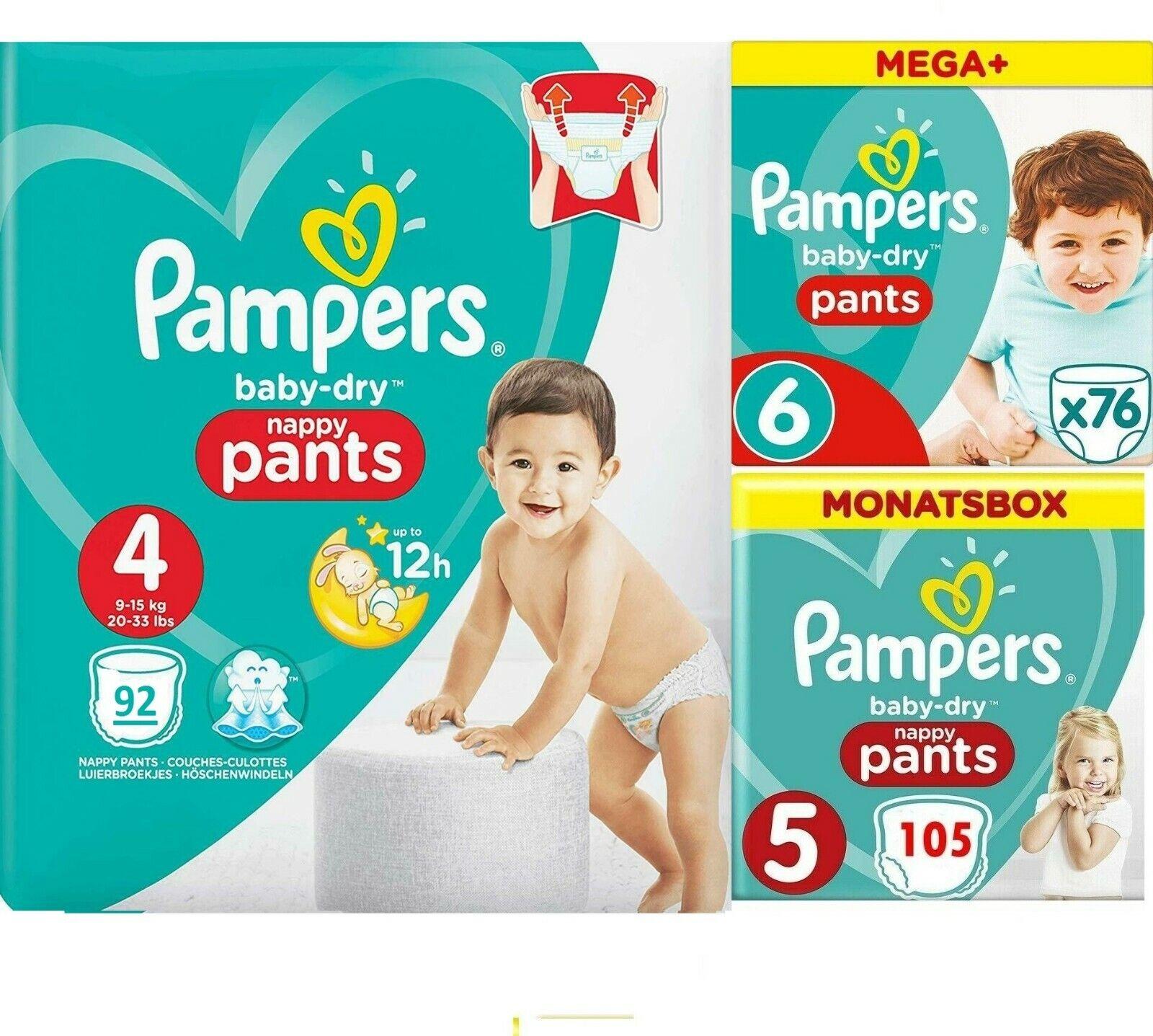 Pampers Baby-Dry nappy Pants, Windeln  Monatsbox, Größe Gr   4   5   6