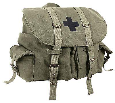 Vintage Olive Drab Compact Weekender Canvas Backpack w/ Military Medic - Weekender Olive