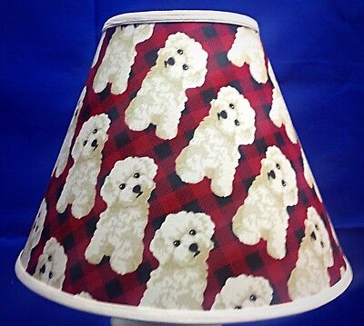 White Dog Red Black Plaid Check Poodle  Canine Handmade Lampshade Lamp Shade