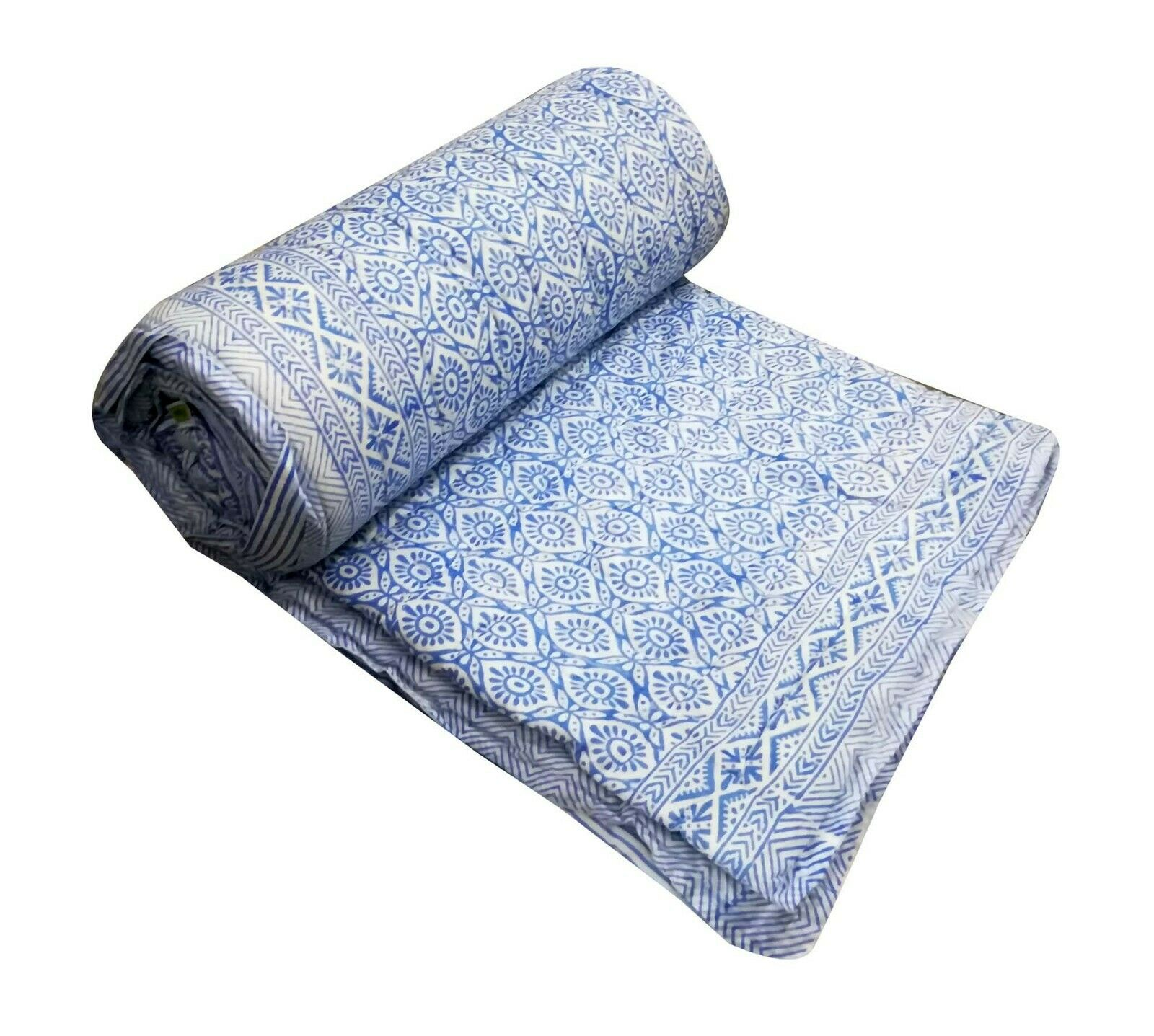 Indian HandBlock Ikat Print Kantha Quilt Cotton Bedspread Ki